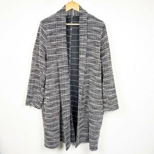 Zara long cardigan plaid checkered duster jacket